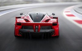 Preview wallpaper Ferrari FXX K red supercar back view, speed, road