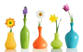 Preview wallpaper Flower arrangement, vase, sunflower, hyacinth, daisy, narcissus, tulip