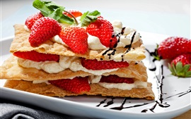 Food, dessert, snack, strawberry, pancake, cream