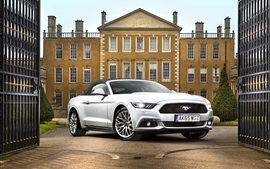 Preview wallpaper Ford Mustang GT Convertible white car