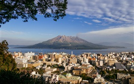 Preview wallpaper From Kagoshima look to the Sakurajima, Japan