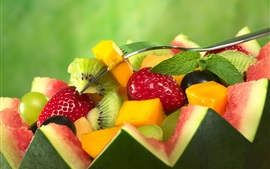 Fruit salad, watermelon, strawberries, kiwi, mango, mint