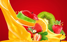 Fruits slices, apple, orange, kiwi, strawberry