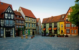 Preview wallpaper Germany, Quedlinburg, houses, road, cars, coffee bar
