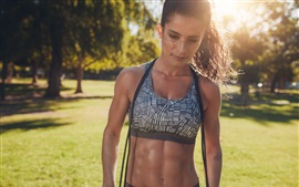 Girl in summer, workout, fitness, sunshine
