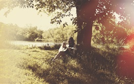 Girl play guitar, music, summer, trees, sunshine