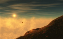 Preview wallpaper Grass, sunrise, mountain, sky, clouds, seagulls flying