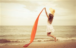 Preview wallpaper Happy girl jump, mood, white dress, red ribbon, beach, sea