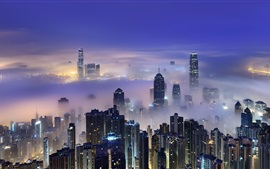 Hong Kong, Victoria Harbour, morning, dawn, skyscrapers, lights, mist