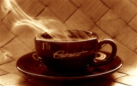 Hot coffee, steam, brown cup