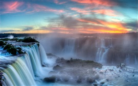 Preview wallpaper Iguazu Falls, Argentina-Brazil Border, clouds, sunset, mist