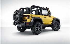 Jeep Wrangler Rubicon de las rocas de la estrella, de visión trasera coche amarillo