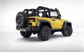 Jeep Wrangler Rubicon Rocks Star, желтый автомобиль вид сзади