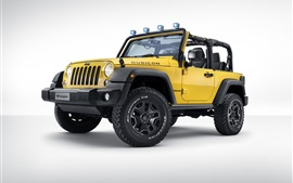 Preview wallpaper Jeep Wrangler Rubicon Rocks Star, yellow pickup