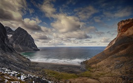 Preview wallpaper Kvalvika Beach, Lofoten Islands, Norway, mountains, sea, clouds
