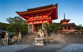 Aperçu fond d'écran Kyoto, Japon, Temple Kiyomizu-dera, porte, lieu de Voyage