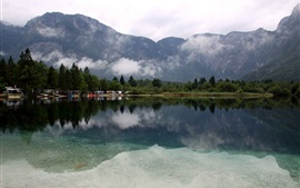 Preview wallpaper Lake Bohinj, Slovenia, trees, mountains, clouds
