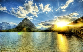 Preview wallpaper Lake, mountains, sunshine, clouds, glare
