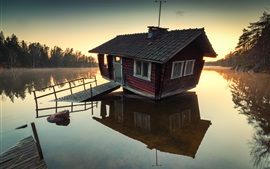 Lake, wooden house, trees, morning, sunrise