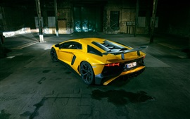 Preview wallpaper Lamborghini Aventador LP 750-4 SV yellow supercar back view