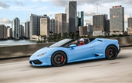 Aperçu fond d'écran Lamborghini LP 610-4 Huracan supercar bleue vue de côté