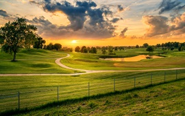 Preview wallpaper Lees Summit, Missouri, USA, meadow, grass, trees, sunset, pond, clouds