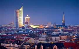 Leipzig at night, buildings, lights, Germany