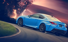 Preview wallpaper Lexus RC-F blue car rear view