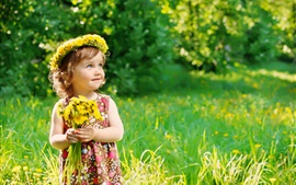 Preview wallpaper Little cute girl holding flowers, wreath, summer, bokeh