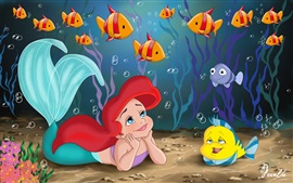Little mermaid and yellow fish, Disney anime movie