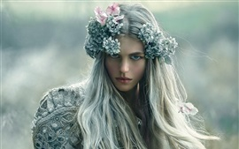 Long hair girl, wreath, makeup