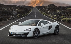 McLaren 570GT white supercar, road