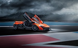 Preview wallpaper McLaren P1 orange supercar, doors opened