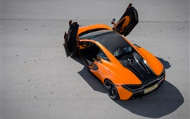 Preview wallpaper Mclaren 570S orange supercar top view, doors opened