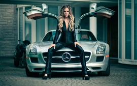 Preview wallpaper Mercedes SLS car and girl