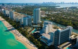 Miami, Florida, EE.UU., paisaje de la ciudad, rascacielos, playa, mar, río