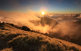 Preview wallpaper Morning sunrise landscape, clouds, mountain, grass