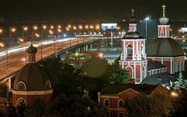 Москва, Россия, город ночью, церковь, огни