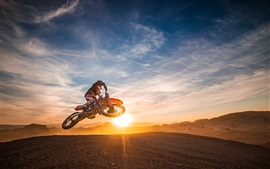 Preview wallpaper Motorcycle race, sports, jump, sunset