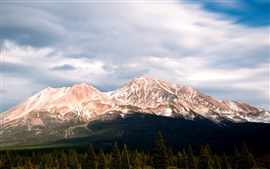 Preview wallpaper Mount Shasta, Stratovolcano, clouds, trees, California, USA