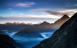 Preview wallpaper Nature landscape, mountains, clouds, mist, dawn