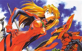 Preview wallpaper Neon Genesis Evangelion, red hair anime girl