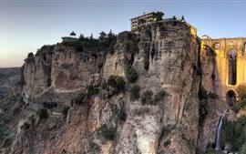 Новый мост, Ронда, Малага, Испания, скалы, дома, закат