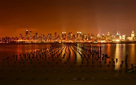New York city, USA, pier, Hudson River, night, skyscrapers, lights