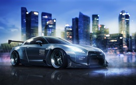 Preview wallpaper Nissan GT-R R35 supercar, night, city