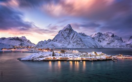 Preview wallpaper Norway, Lofoten archipelago, village, island, fjord, mountains, snow, dusk, lights