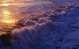 Ocean surf, waves, sunset