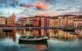 Orlando, Florida, America, river, boats, night, buildings, clouds
