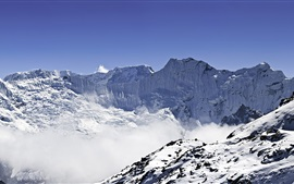 Preview wallpaper Panorama of Himalayas, Ama Dablam and Makalu, snow