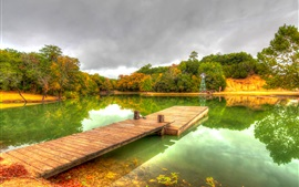 Park, autumn, pond, trees, clouds, wooden path